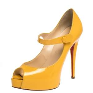Christian Louboutin Yellow Leather Zeppa Mary Jane Peep Top Platform Pumps Size 38.5