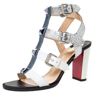 Christian Louboutin Multicolor Leather And Patent Rocknbuckle Block Heel Sandals Size 37.5