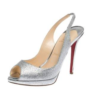 Christian Louboutin Silver Glittered Peep Toe Platform Sandals Size 39