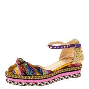 Christian Louboutin Multicolor Fabric And Raffia Spike Madcarina Espadrille Sandals Size 40