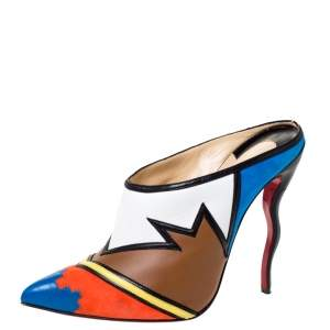 Christian Louboutin Multicolor Leather and Suede Vagachina Mules Size 40
