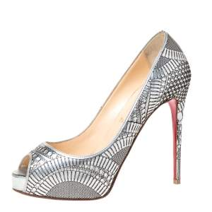 Christian Louboutin Silver Leather Suellena Peep Toe Platform Pumps Size 37.5
