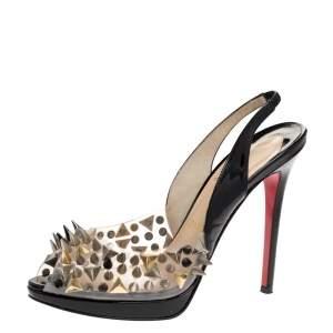 Christian Louboutin Black Patent And PVC Pik Pik Pik Slingback Sandals Size 38.5