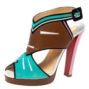 Christian Louboutin Multicolor Suede And Leather Azuniraco Platform Slingback Sandals Size 38.5
