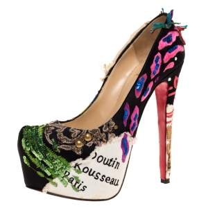 Christian Louboutin Limited Edition Daffodile Brodee Crepe Satin Pumps Size 39.5