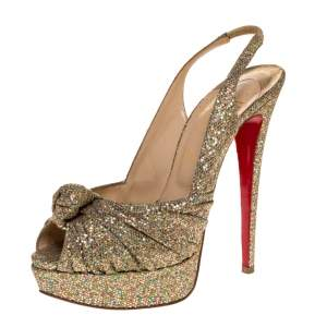 Christian Louboutin Multicolor Glitter Fabric Jenny Knotted Slingback Sandals Size 39