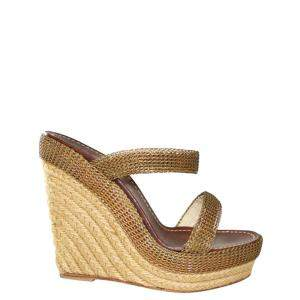 Christian Louboutin Gold  Chain-metal Espadrilles Wedges Size 38