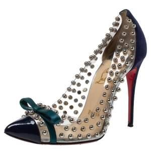 حذاء كعب عالى كريستيان لوبوتان فيونكة مرصعة بيل بلاستيك مشمع بى فى سى وجلد سويدى أزرق مقاس 36.5