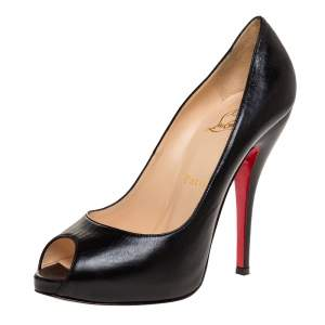 Christian Louboutin Black Leather Very Prive Peep Toe Platform Pumps Size 37