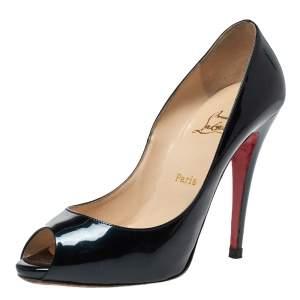 Christian Louboutin Dark Green Patent Leather Flo Peep Toe Pumps Size 38.5