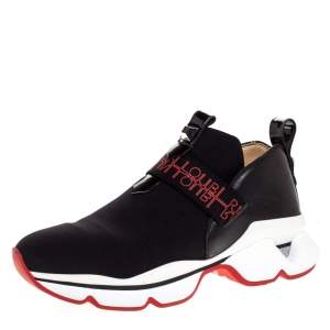 Christian Louboutin Black Neoprene And Leather Lipsy Run Slip On Sneakers Size 38