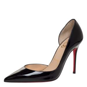 Christian Louboutin Black Patent Leather Iriza D'Orsay Pointed Toe Pumps Size 36.5