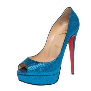 Christian Louboutin Blue Glitter Lady Peep Toe Platform Pumps Size 39