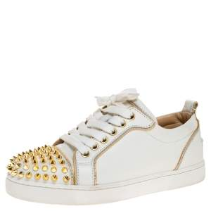 Christian Louboutin White/Gold Leather Louis Junior Spikes Sneakers Size 35