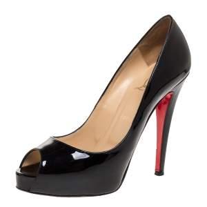 Christian Louboutin Black Patent Leather Very Prive Peep Toe Pumps Size 39
