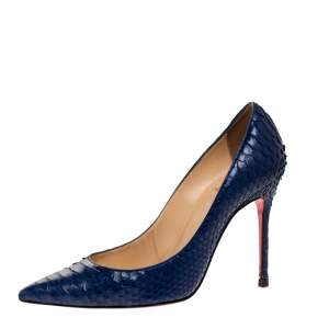 Christian Louboutin Blue Python Leather So Kate Pointed Toe Pumps Size 36.5
