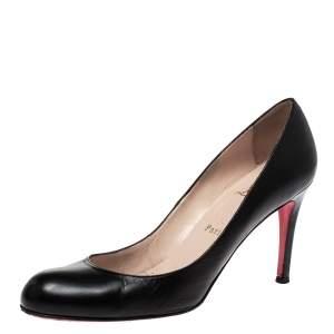 Christian Louboutin Black Leather Round Toe Pumps Size 38.5