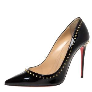 Christian Louboutin Black Studded Patent Leather Anjalina Pointed Toe Pumps Size 38.5