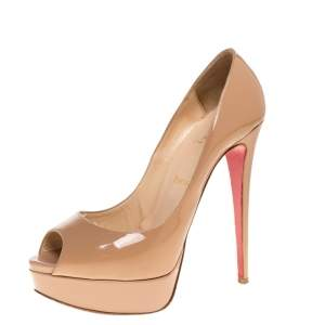 Christian Louboutin Beige Patent Leather Lady Peep Toe Platform Pumps Size 39.5
