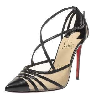 Christian Louboutin Black Mesh and Leather Theodorella Pumps Size 36
