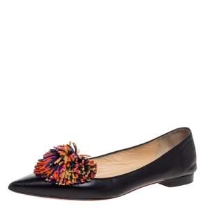 Christian Louboutin Black Leather 'Konstantina' Pom Pom Ballet Flats Size 37