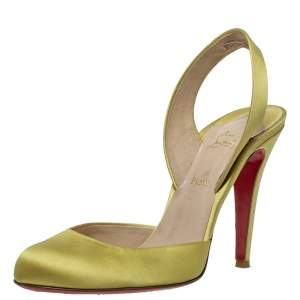 Christian Louboutin Yellow Satin 'Picador' Slingback Round Toe Sandals Size 39