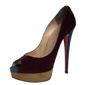 Christian Louboutin Tri Color Suede Lady Peep Toe Platform Pumps Size 39.5