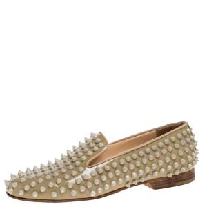 Christian Louboutin Beige Rollerboy Spikes Smoking Slippers Size 35