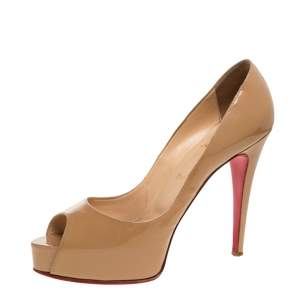 Christian Louboutin Beige Patent Leather Very Prive Peep Toe Pumps Size 40.5