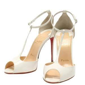 Christian Louboutin Red/White Patent Leather Senora 100 Size 36 1/2