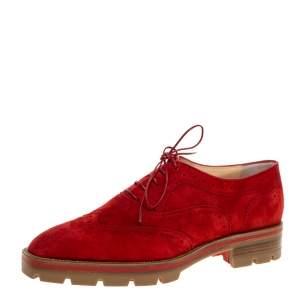 حذاء أكسفورد كريستيان لوبوتان شارليتا جلد سويدى بروج أحمر مقاس 38.5
