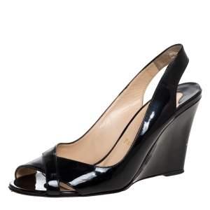 Christian Louboutin Black Patent Leather Peep Toe Marpoil Sanzep Wedge Sandals Size 39