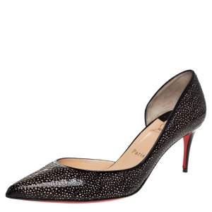 Christian Louboutin Black Patent And Brown Suede Galu D'orsay Pumps Size 39.5
