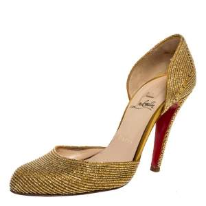 Christian Louboutin Gold Satin Embellished 'Labyrinth' D'orsay Pumps Size 38.5