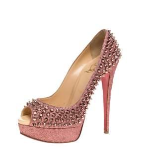 Christian Louboutin Pink Glitter Fabric Lady Peep Spike Platform Pumps Size 37.5