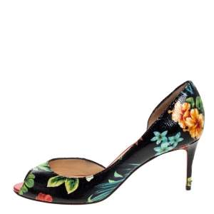 Christian Louboutin Multicolor Hawaii Print Crackled Texture Leather Demi You D'Orsay Pumps Size 38