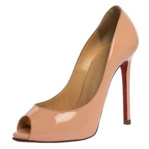 Christian Louboutin Pink Patent Leather Flo Ppep Toe Pumps Size 37.5