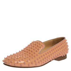 Christian Louboutin Peach Patent Leather Rolling Spike Slip On Loafers Size 40