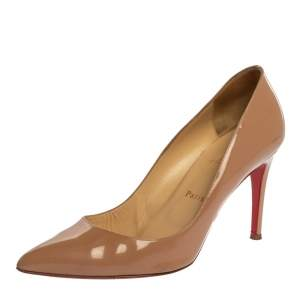 Christian Louboutin Beige Patent Leather So Kate Pointed Toe Pump Size 40