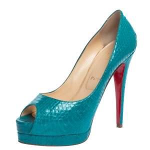 Christian Louboutin Turquoise Snakeskin Lady Peep Toe Platform Pumps Size 39