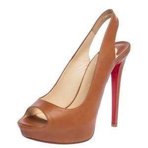 Christian Louboutin Brown Leather Lady Peep Toe Platform Slingback Sandals Size 39
