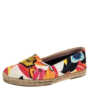 Christian Louboutin Multicolor Canvas Gala Embroidered Crest Flat Espadrille Loafers Size 40