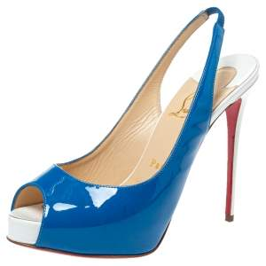 Christian Louboutin Blue/White Patent And Leather Private Number Peep Toe Slingback Sandals Size 37.5