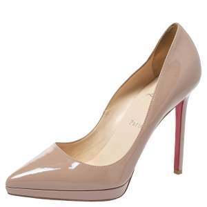 Christian Louboutin Beige Patent Leather Pigalle Plato Pumps Size 39