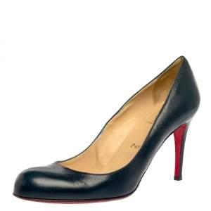 حذاء كعب عالى كريستيان لوبوتان سيمبل جلد أزرق مقاس 39.5