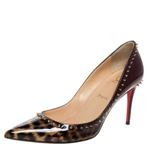 Christian Louboutin Brown Leopard Print Patent Leather Spiked Pointed Toe Pumps Size 40