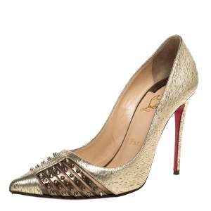 Christian Louboutin Gold Textured Leather Spiked Bareta Pumps Size 37