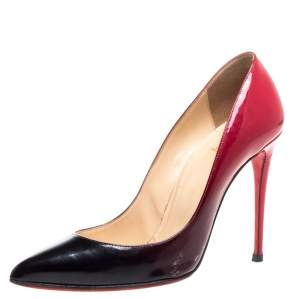 Christian Louboutin Black/Red Ombre Patent Leather So Kate Pumps Size 38.5