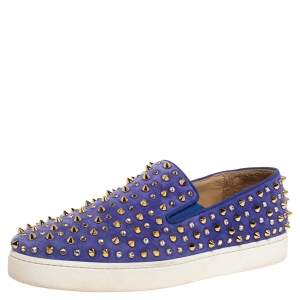 Christian Louboutin Lavander Suede Roller Boat Crystal and Spike Slip On Sneakers Size 38.5