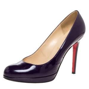 حذاء كعب عالي كريستيان لوبوتان نعل سميك جديد  بنفسجي لامع  مقاس 39